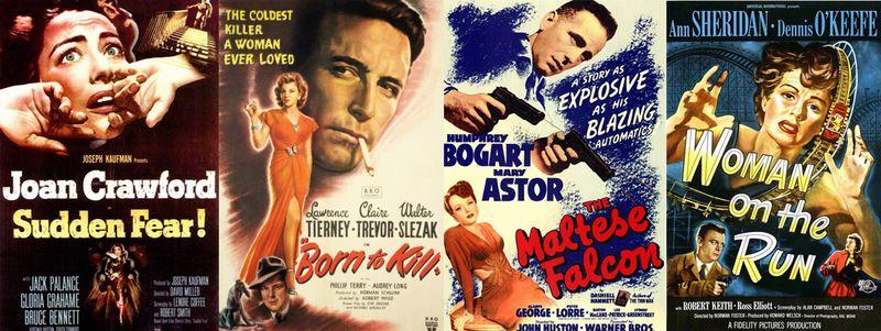 Desde la izquierda, carteles de 'Miedo súbito' (David Miller, 1952), 'Nacido para matar' (Robert Wise, 1947), 'El halcón maltés' (John Huston, 1941) y 'Woman on the run' (Norman Foster, 1950