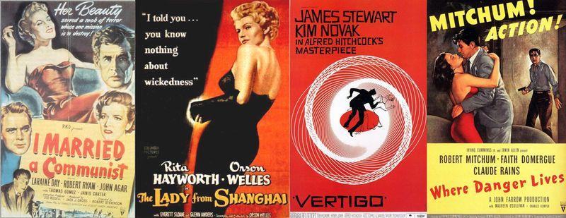 Desde la izquierda, carteles de 'Casada con un comunista' (Robert Stevenson, 1949), 'La dama de Shangai' (Orson Wells, 1947), 'Vértigo' (Alfred Hitchcock, 1958) y 'Donde habita el peligro' (John Farrow, 1950)