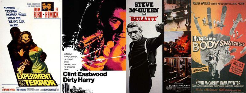 Desde la izquierda, carteles de 'Chantaje contra una mujer' (Blake Edwards, 1962), 'Harry, el sucio' (Don Siegel, 1971), 'Bullitt' (Peter Yates, 1968) y 'La invasión de los ladrones de cuerpos' (Don Siegel, 1956)