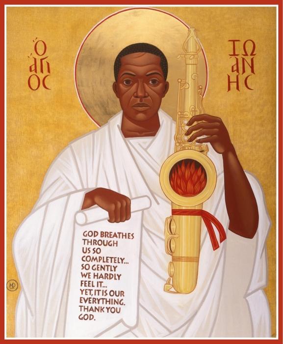 God breathes through the holy horn of Saint John Coltrane (Mark Dukes)