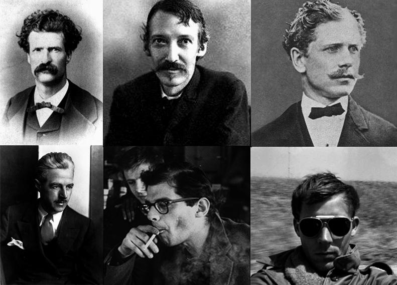 [Desde arriba a la izquierda y en el sentido de las agujas del reloj, Mark Twain, Robert Louis Stevenson, Ambrose Bierce, Hunter Thompson, Allen Ginsberg y Dashiell Hammett]