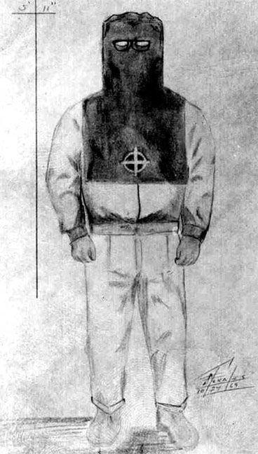 [Dibujo policial del disfraz utilizado por Zodiac en uno de los crímenes]