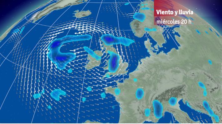 Lluvia y viento para Miércoles 1