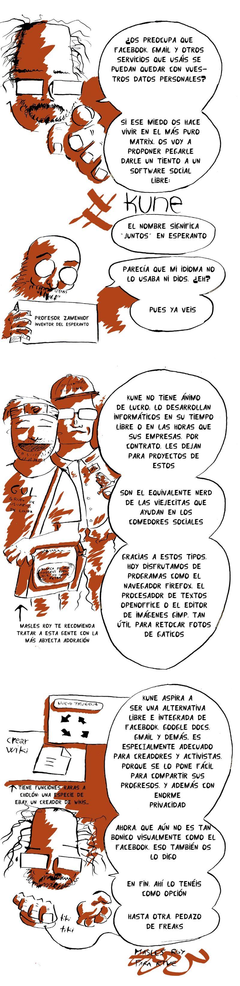 redes sociales software libre kune viñeta comic