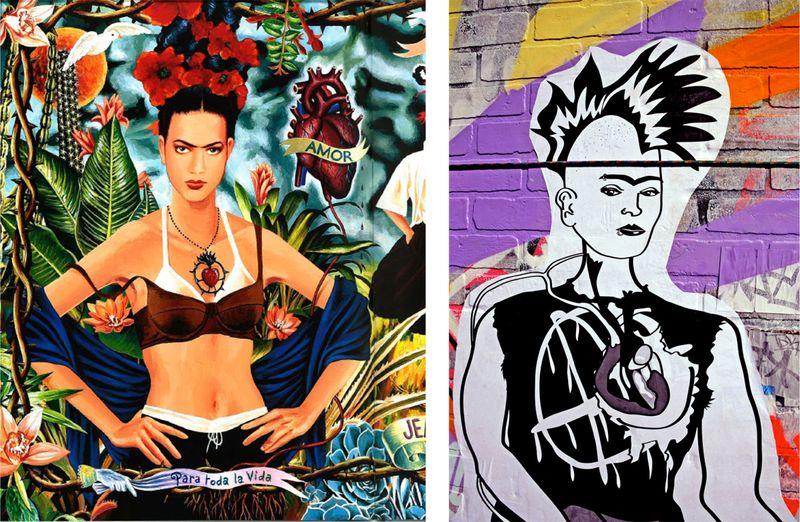[Izquierda: pubhlicidad de la colección de homenaje a Frida Kahlo de Gaultier e 1988 . Derecha: