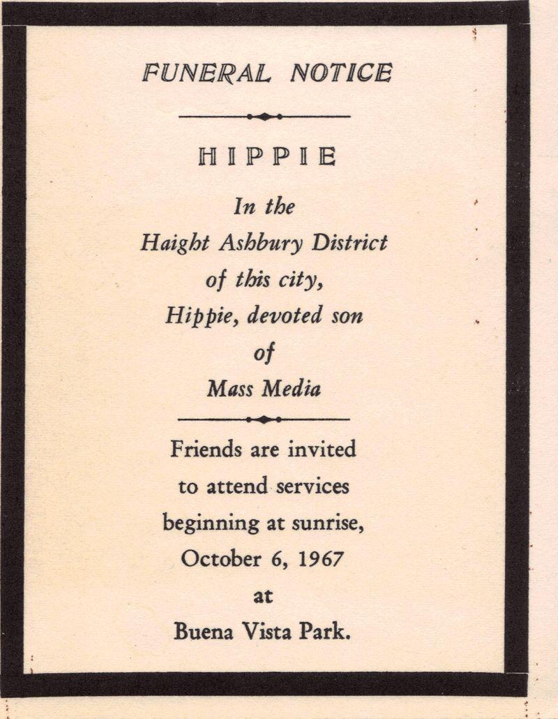 Flyer sobre la Muerte del Hippie, happenig organizado en otoño de 1967 en San Francisco por los Diggers, activistas radicales