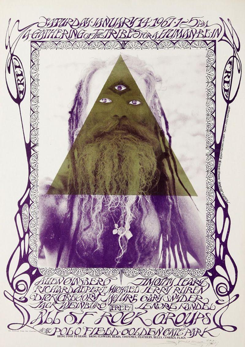 Póster del Human Be-In de 1967, del artista Michael Bowen