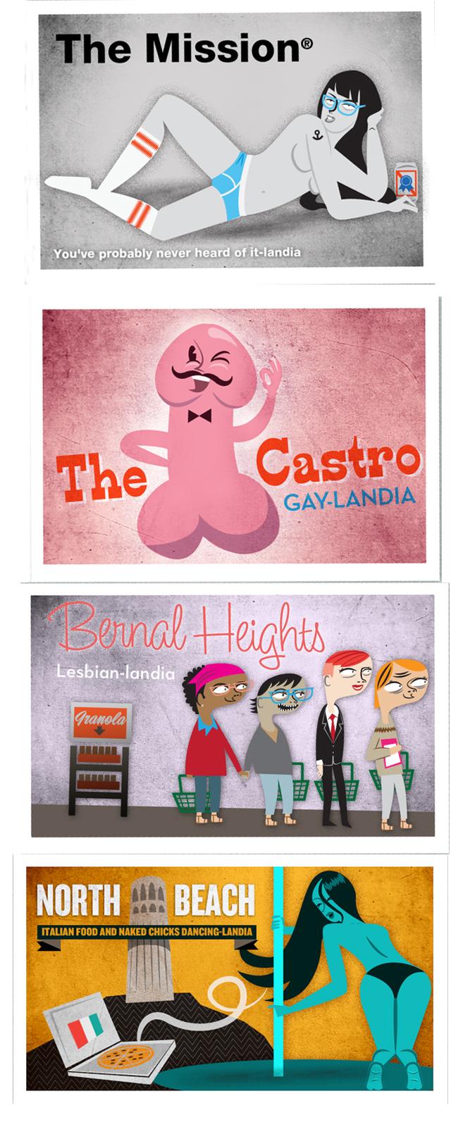 Dibujos de la serie 'Moving to San Francisco' [Juan Leguizamon - The Bold Italic, 2012]