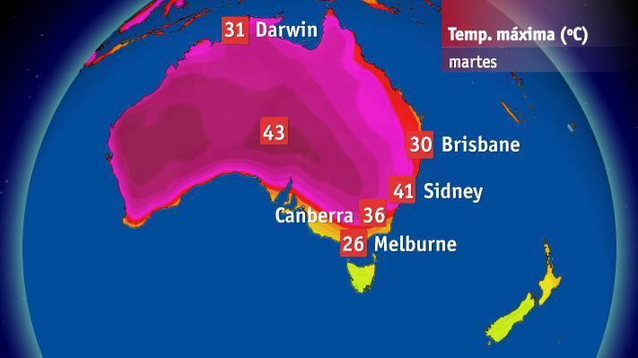 Temperaturas máximas registradas este martes en Australia. Fuente Bureau of Meteorology of Australia.