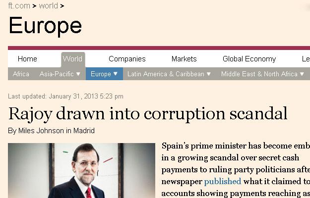 Mariano Rajoy, fue acusado hoy por un correligionario de ser el máximo responsable de los numerosos escándalos de corrupción que salpican al derechista Partido Popular (PP).