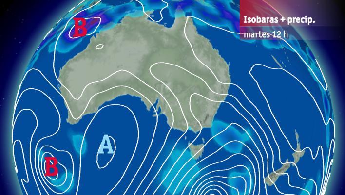 Situación sinóptica este martes en Australia