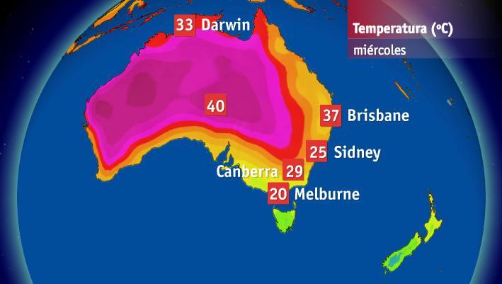 Temperaturas máximas previstas para este miércoles en Australia. Fuente Bureau of Meteorology of Australia.