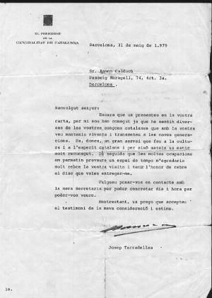 1979 Carta de Josep Tarradellas BLOG