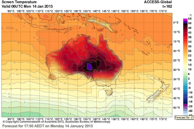 Modelo de temperatura en superficie. Fuente: Bureau of Meteorology of Australia