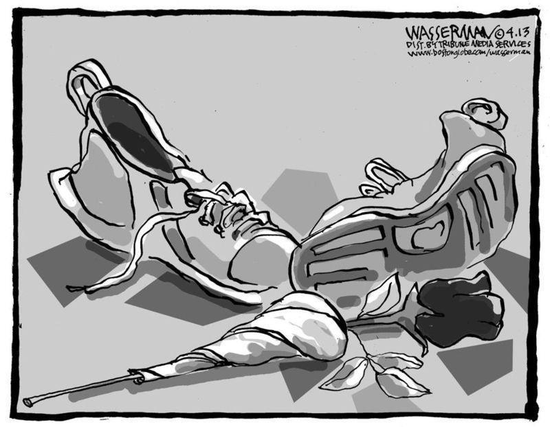 Boston Globe cartoon (marathon attack)