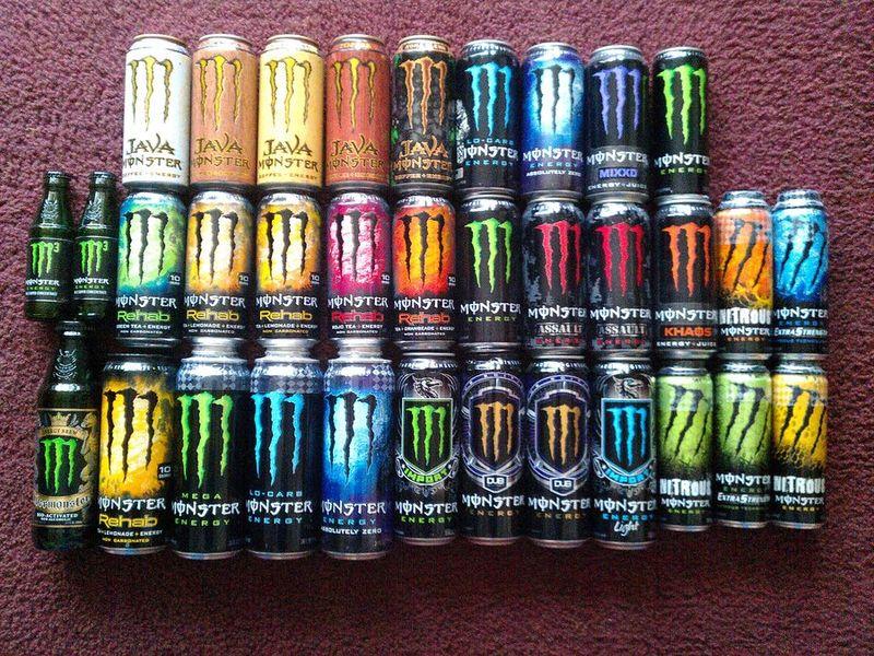 Gama de productos y presentaciones de las bebidas Monster