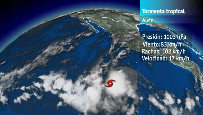 Imagen de satélite de la posición de la tormenta tropical Alvin a las 10 AM (UTC)