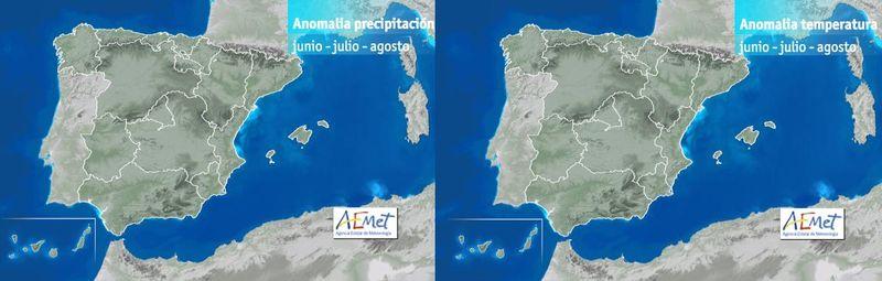 Anomalías temperatura y precipitación para el verano, fuente AMET