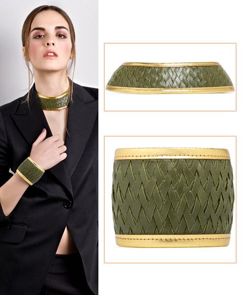 Gargantilla-y-brazalete-en-verde-y-oro-de-David-Havillio-,-La-Vida-al-Bies