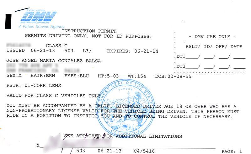[Mi permiso provisional de conducir]