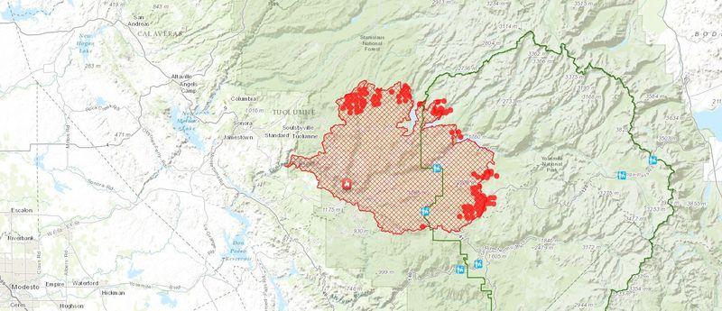 [Extensión del Rim Fire - Mapa:www.esri.com]