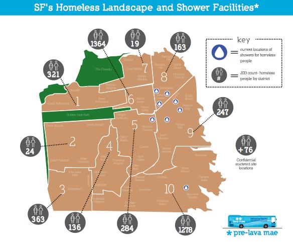 [Mapa de residencia de los sin techo de San Francisco. Los lugares marcados con el símbolo de una gota son las duchas. Imagen lavamae.org]