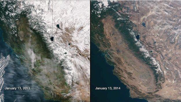 [Fotos de satélite de Sierra Nevada en enero de 2013 y enero de 2014. Foto: NOAA/NASA]