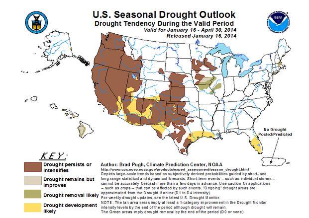 [Predicciones oficiales de lluvias para enero-abril. Fuente:National Weather Service]