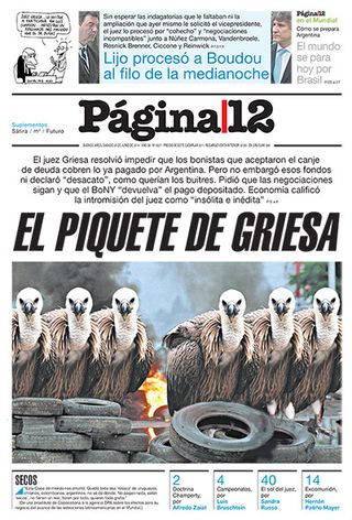 PORTADA PAGINA 12 28 JUNIO 2014