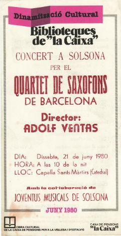 1980 Programa Quartet de Saxofons de BarcelonaBLOG