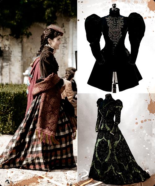Los colores oscuros se dejaban para la noche y el luto. Arriba chaqueta de tarde y abajo, vestido de Worth.