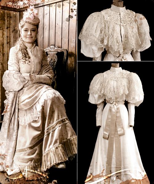 Clara Alvear con vestido lencero. Al lado piezas para vestidos de novia de 1895.