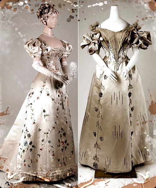 Vestidos de tarde y noche de 1895 en seda bordada, con claro acento oriental.