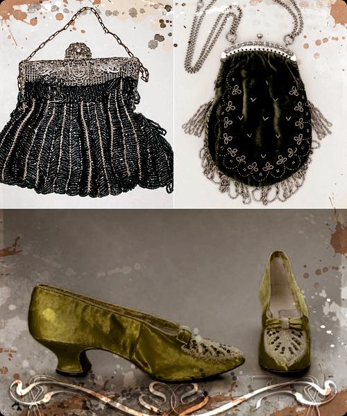 Limosneras del XIX y zapatos de 1895