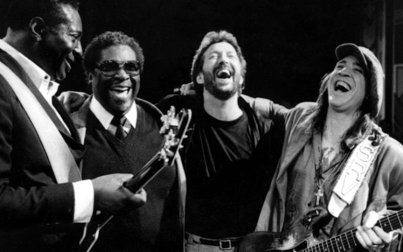 B.B. King junto con Albet King, Eric Clapton y Stevie Ray