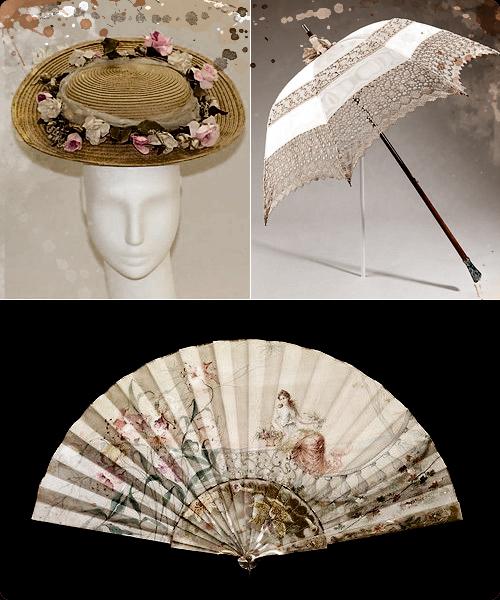 Sombrero americano, sombrilla francesa y abanico de Tiffany del XIX.