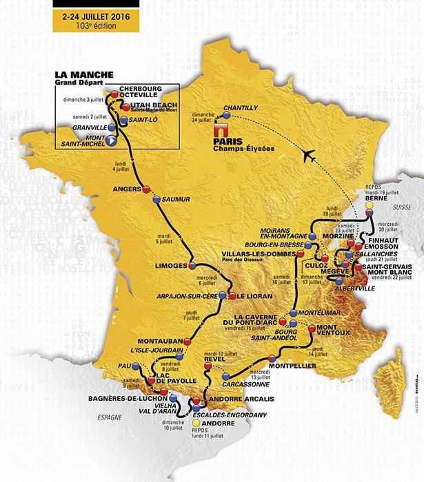 Mapa recorrido Tour 2016