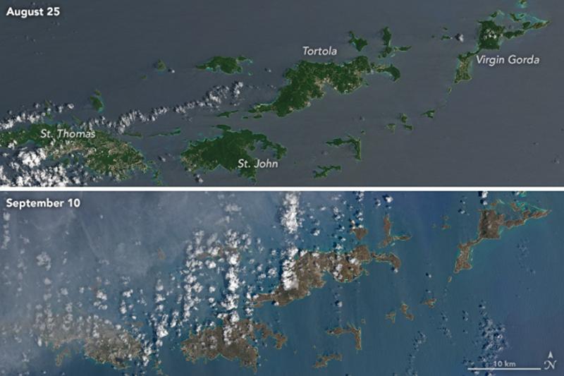 Comparativa Caribe tras Irma_Foto @Nasa