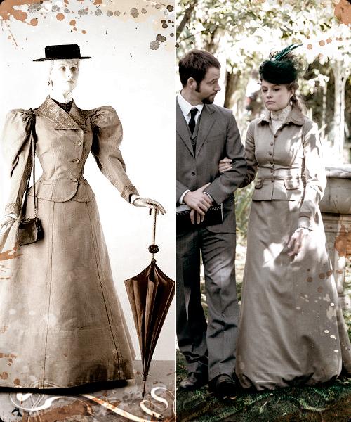 Vestido francés de paseo y fotograma de la serie Victor Ros.