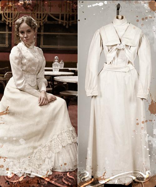 Esmeralda Moya y vestido americano de mañana de 1895.