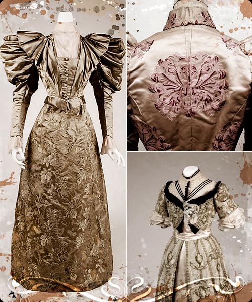 Traje de noche americano de 1895. Cuerpo bordado de worht y vestido de Jean Paquin.