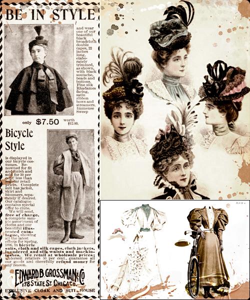 Artículo de 1896 sobre la capa, ilustraciones de sombreros de 1896 y mariquitas recortables de la época.