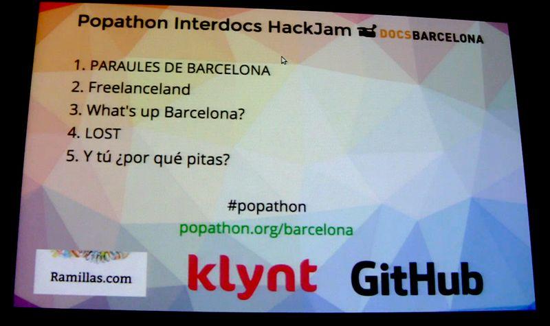 Proyectos popathon listado pantalla