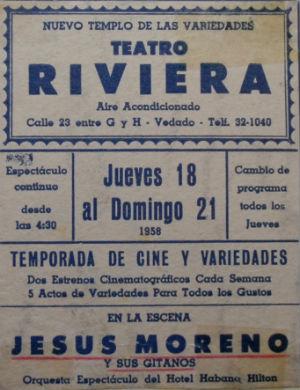 1958 JESÚS MORENO al Teatro Rivera CUBA blog