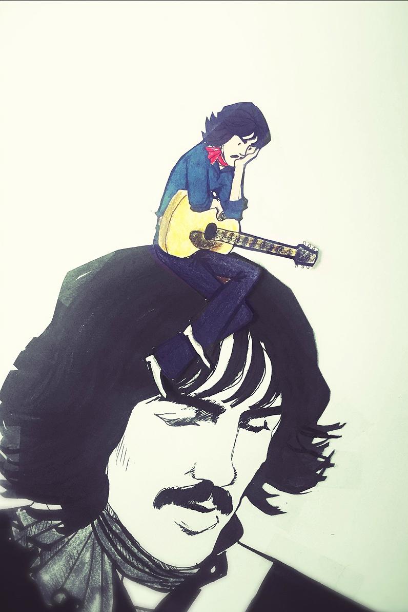 George Harrison caricatura pensando Ok