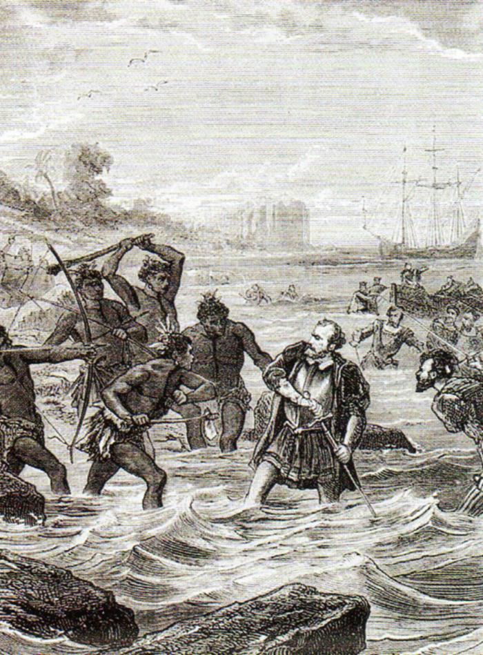Muerte de Magallanes en la batalla de Mactán (grabado del siglo XIX)