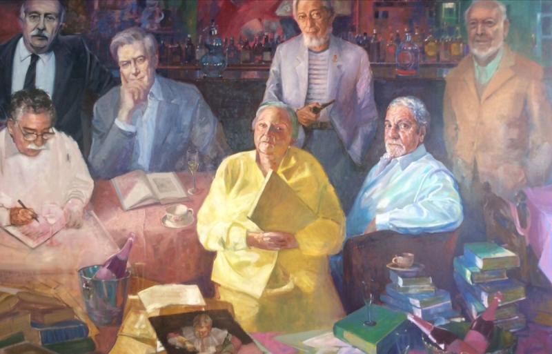 Cuadro de los escritores amigos de Carlos Barral