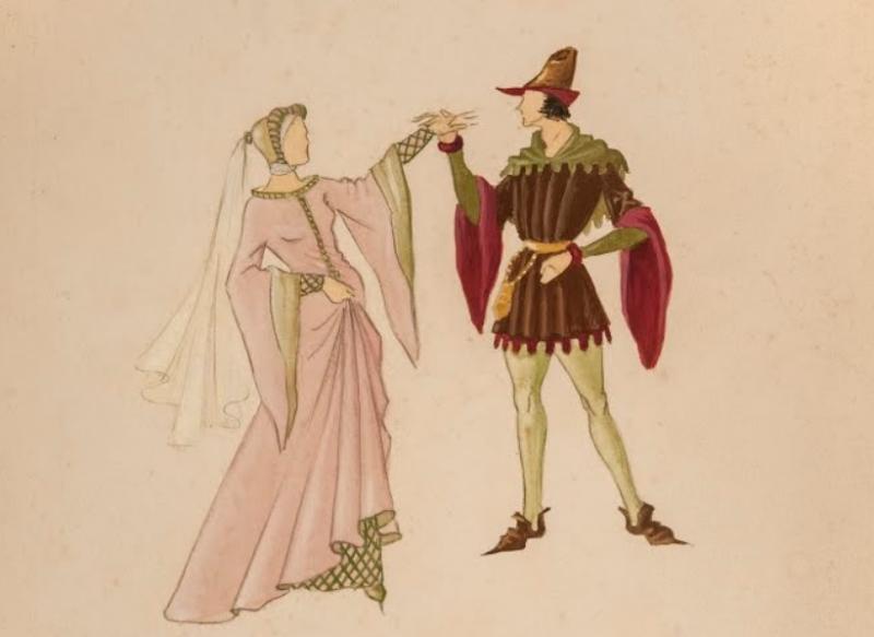 Ines de Castro_Dibujo José Barbosa (colección del Museu Nacional do teatro e da Dança)
