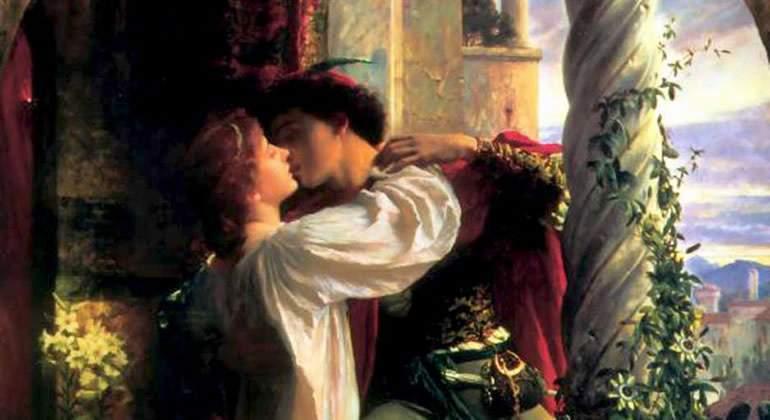 Romeo y Julieta  detalle pintura de Dicksee
