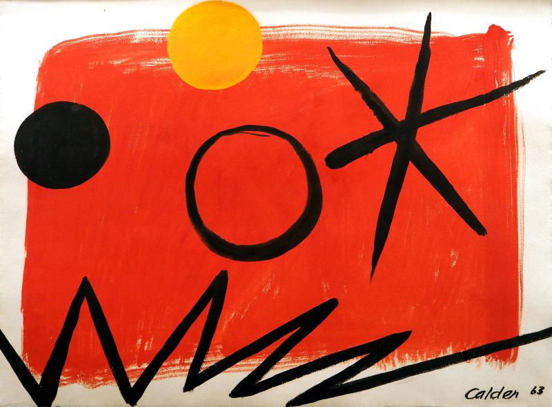 Alexander Calder_Orange sun on red ground_1963